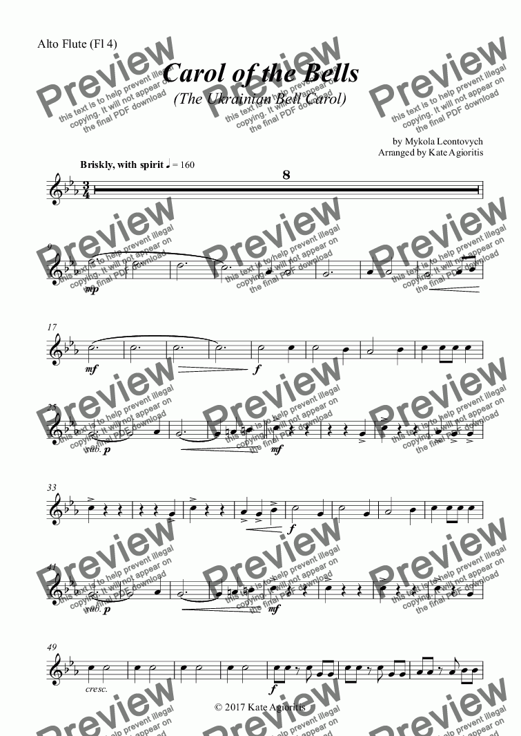 page one of the Alto Flute (Fl 4) part from Carol of the Bells (Ukrainian Bell Carol) - Flute Quartet