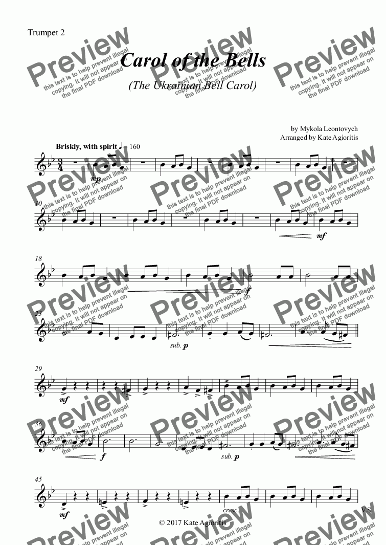 page one of the Trumpet 2 part from Carol of the Bells (Ukrainian Bell Carol) - Brass Quartet