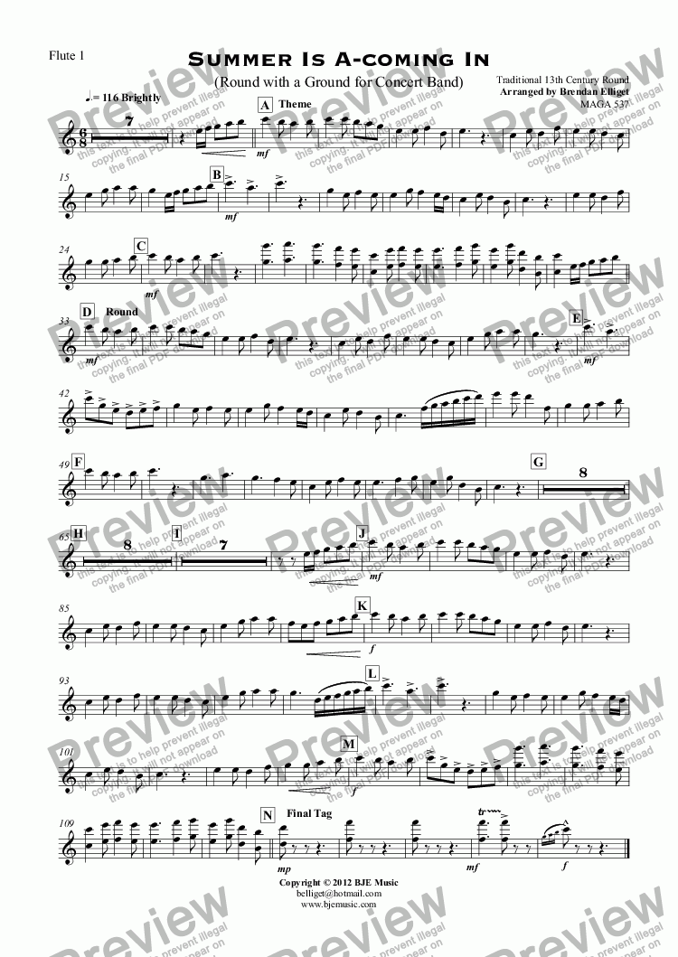 page one of the Flute 1 part from Summer Is A-coming In (Round with a Ground for Concert Band)