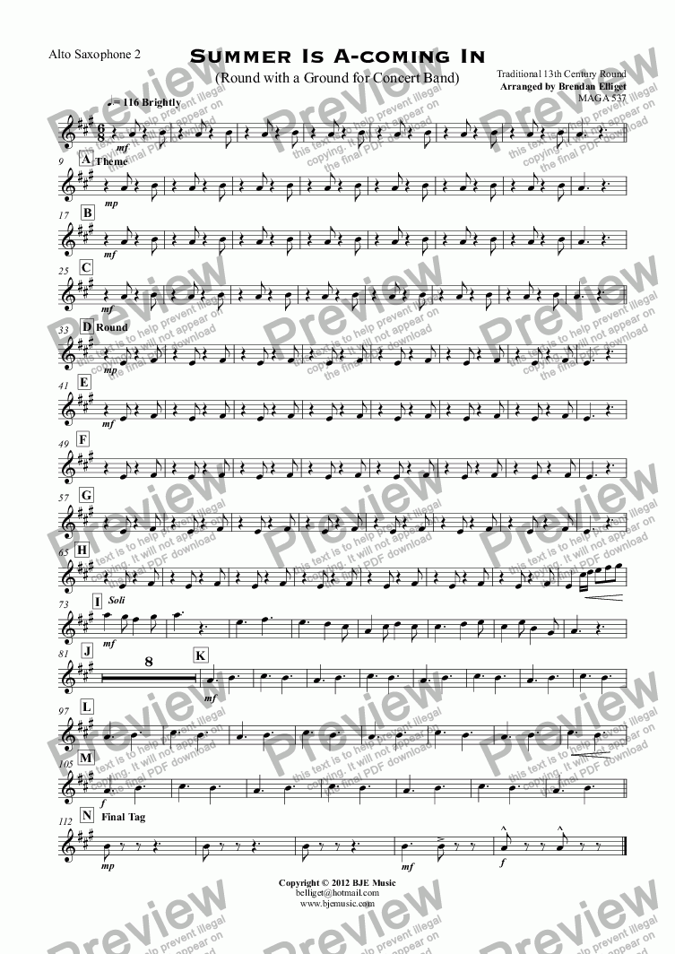 page one of the Alto Saxophone 2 part from Summer Is A-coming In (Round with a Ground for Concert Band)