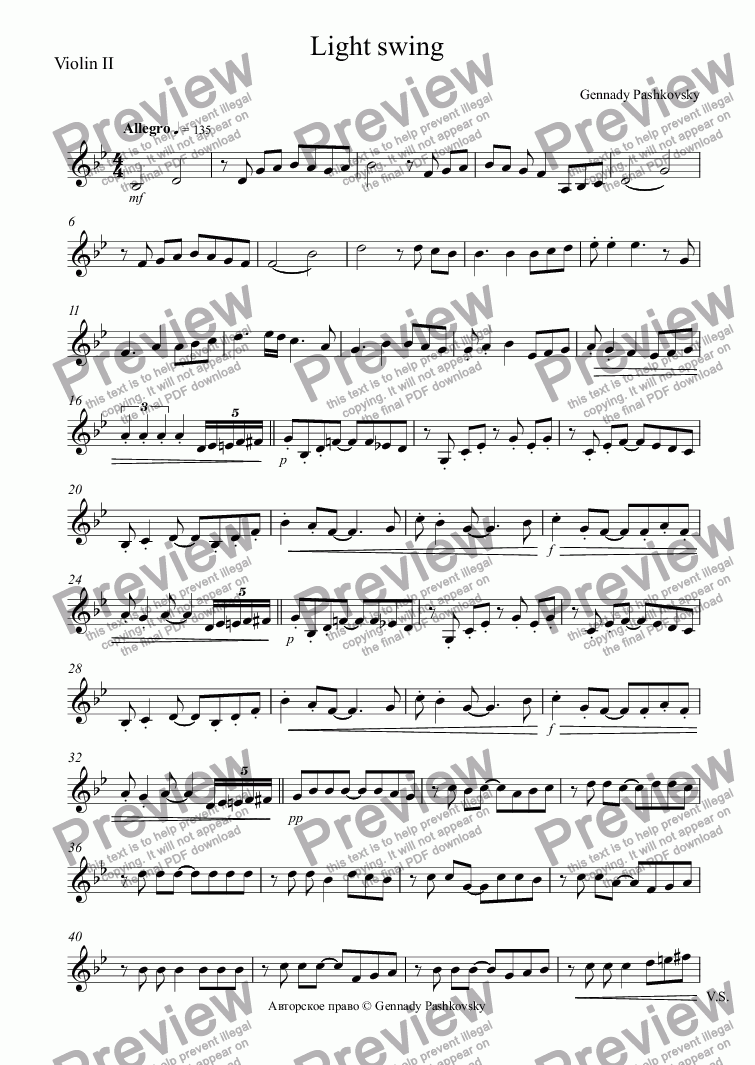 page one of the Violin II part from Light swing