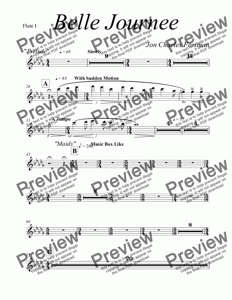page one of the Flute I part from Belle Journee