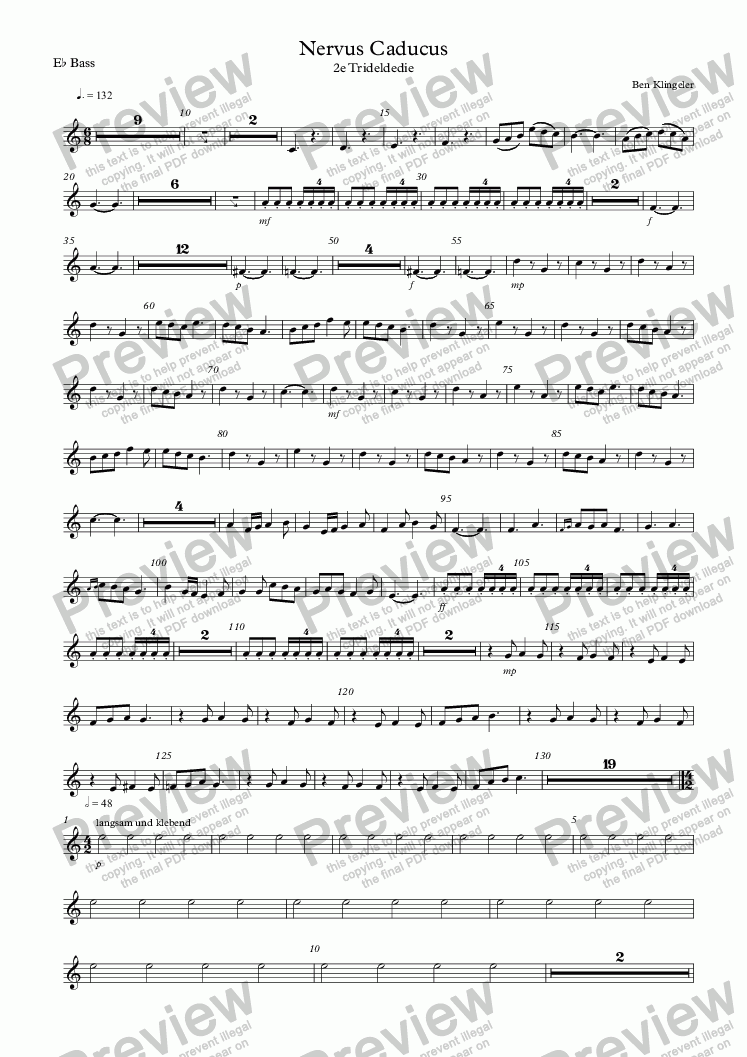 page one of the E^b Bass part from Nervus Caducus