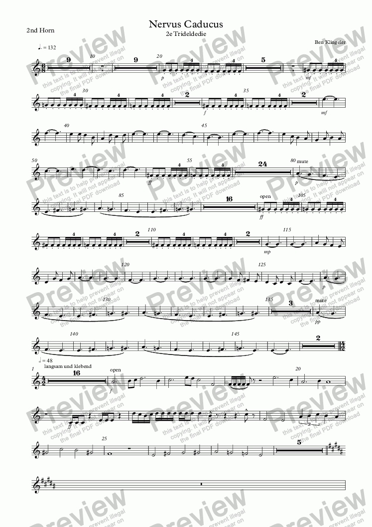 page one of the 2nd Horn part from Nervus Caducus