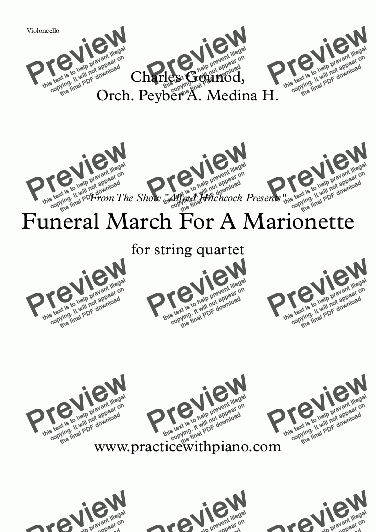 "page one of the Funeral March For A Marionette - Violoncello part from Funeral March For A Marionette - string quartet - ""Alfred Hitchcock Presents"" Theme"