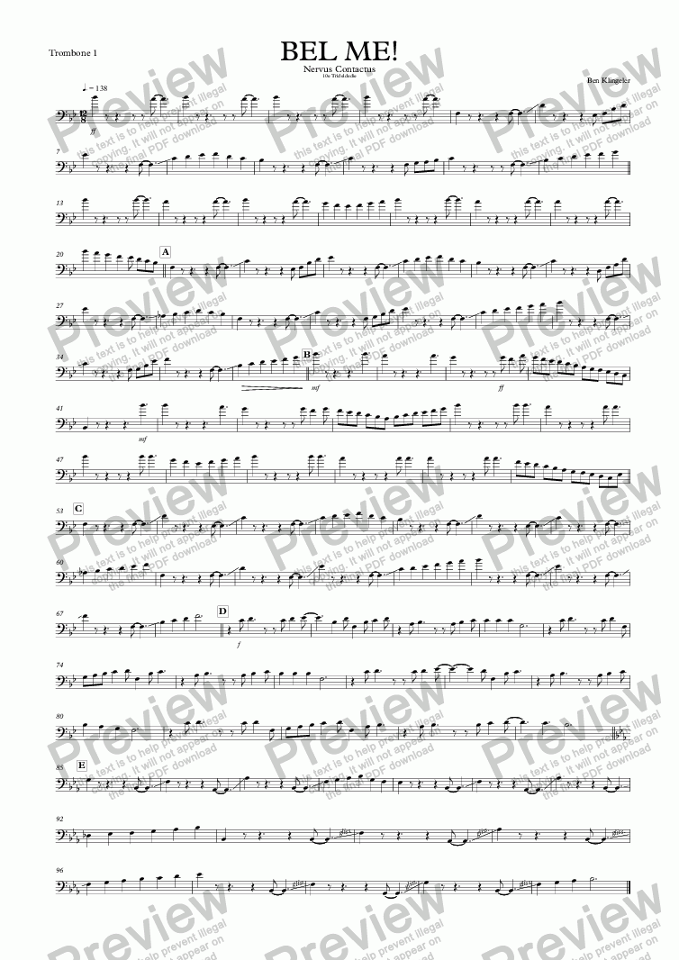 page one of the Trombone 1 part from Nervus Contactus (Call me!)