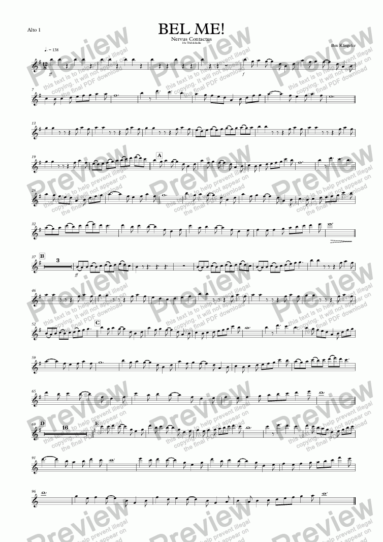 page one of the Alto 1 part from Nervus Contactus (Call me!)