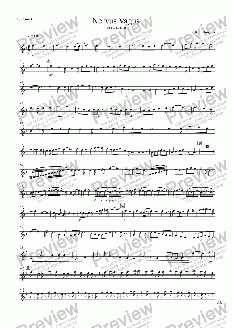 page one of the 1e Cornet part from Nervus Vagus (Fanfare band)