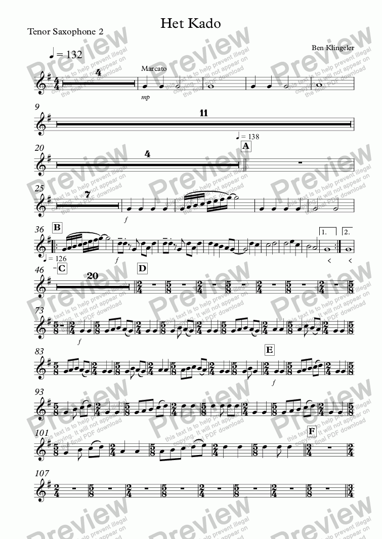 page one of the Tenor Saxophone 2 part from Het Kado
