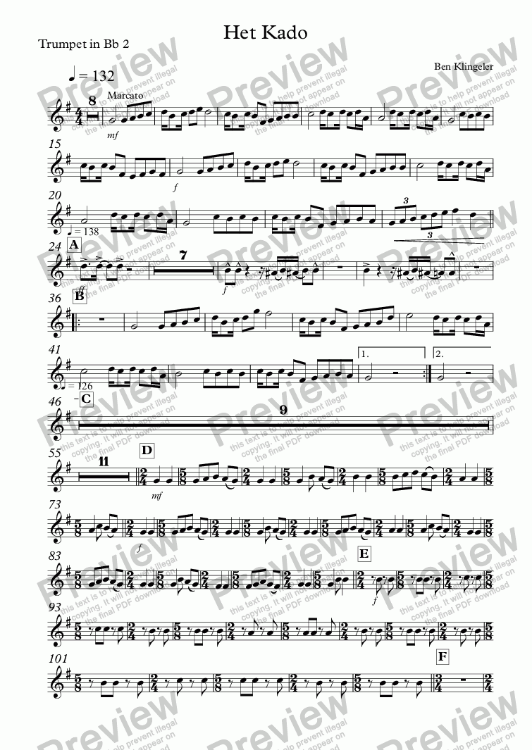 page one of the Trumpet in Bb 2 part from Het Kado