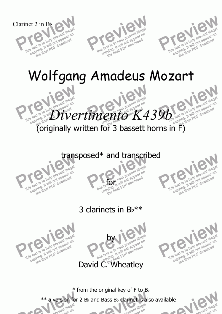page one of the Clarinet 2 in Bb part from Mozart - Divertimento K439b no 1 for clarinet trio (3xBb) transcribed by David Wheatley