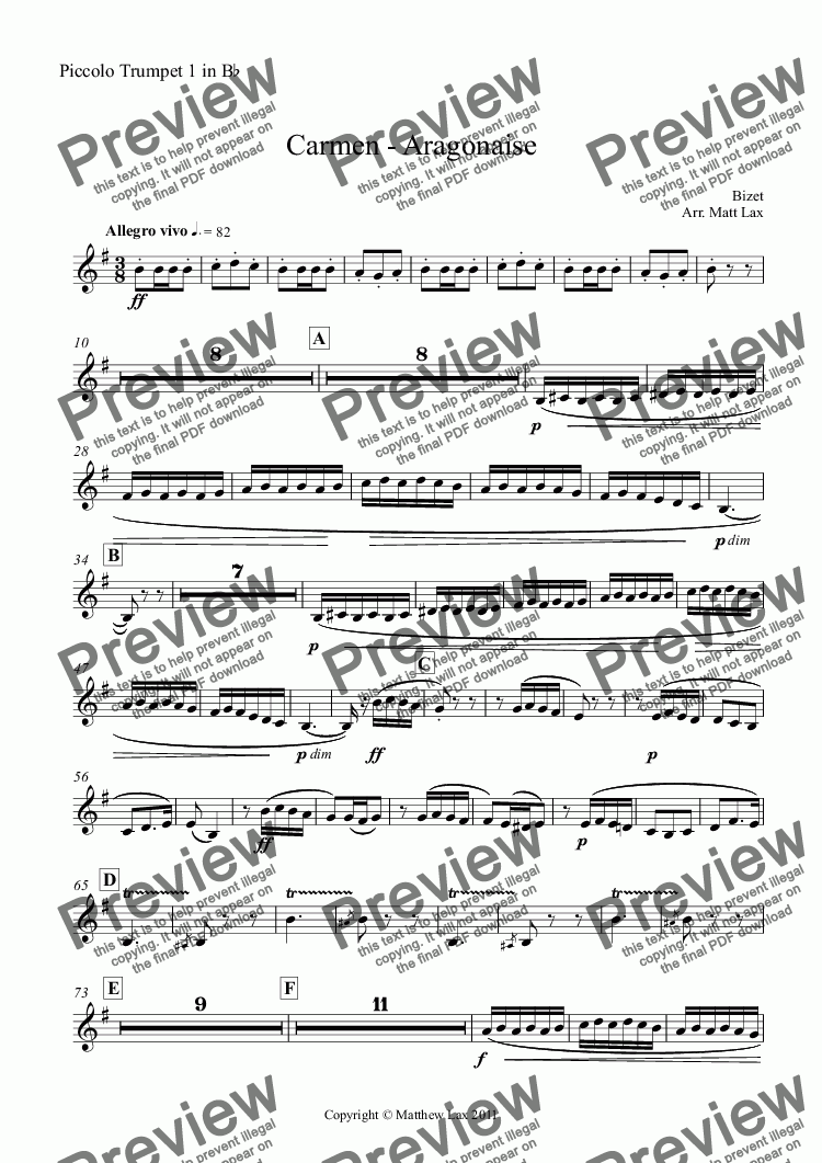 page one of the Piccolo Trumpet 1 in B^b part from Carmen - Aragonaise