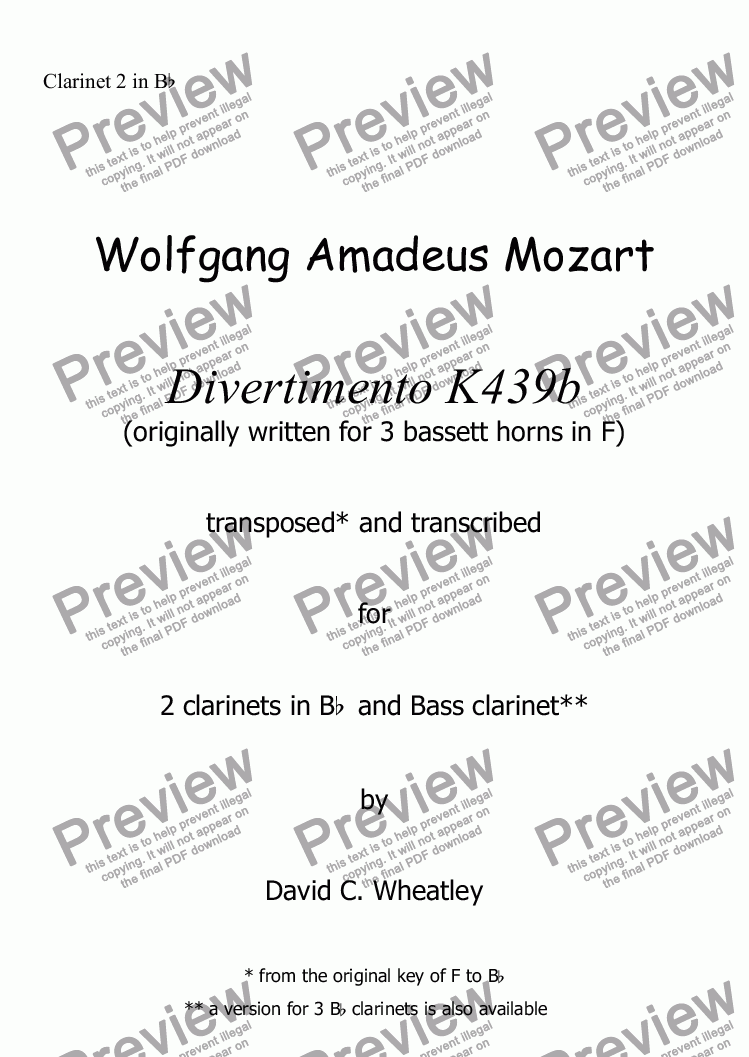 page one of the Clarinet 2 in Bb part from Mozart - Divertimento K439b no 1 for clarinet trio (2xBb and Bass) transcribed by David Wheatley