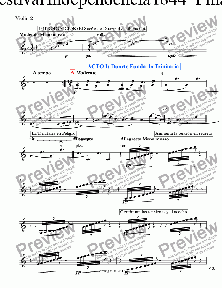 page one of the Violin 2 part from Obertura Festival Independencia 1844 *Fmajor* (Op.03) Coro y Ballet