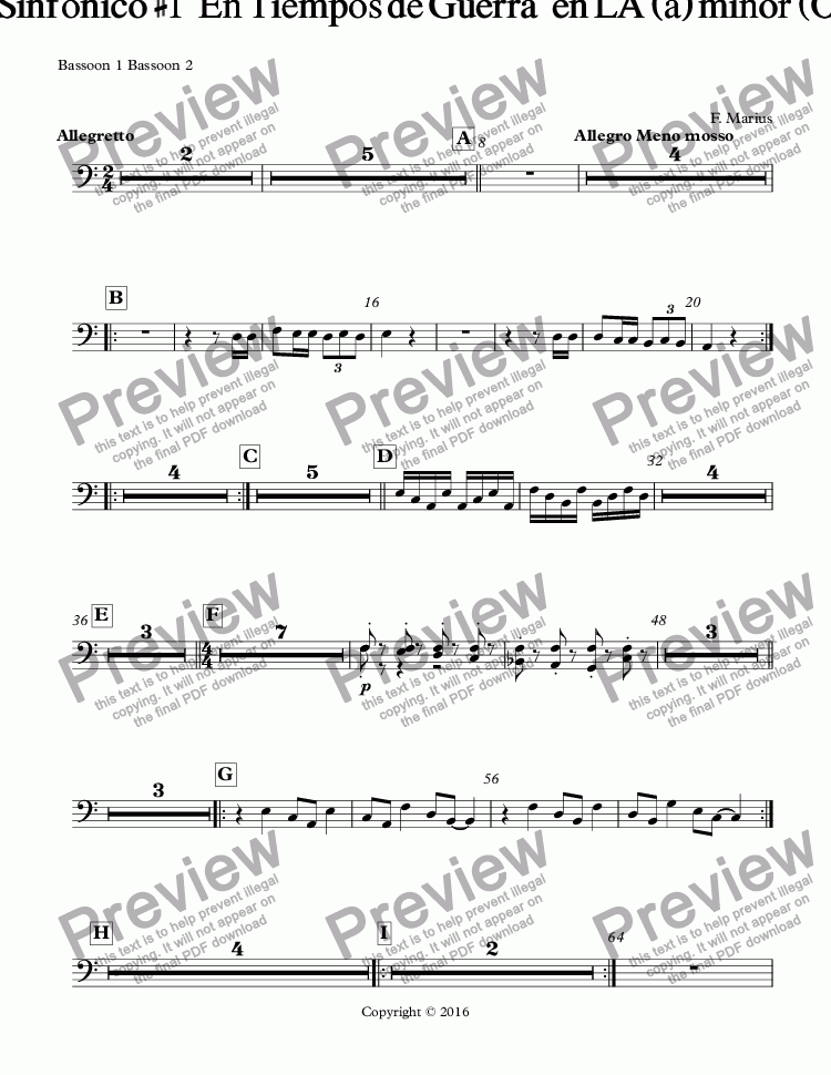 page one of the Bassoon 1 Bassoon 2 part from Rock Sinfonico #1   En Tiempos de Guerra   en LA (a) minor (Op/25)