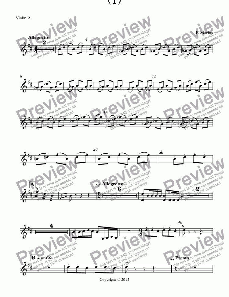 page one of the Violín 2 part from Concierto para Dos  Trompetas y Orquesta: SI (B) minor ( I ) (Op.20)