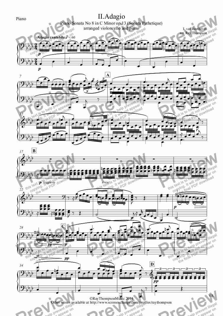 page one of the Piano part from Beethoven: Piano Sonata No 8 in C Minor op.13 (Sonata Pathetique) II.Adagio cantabile  (arranged cello and piano)