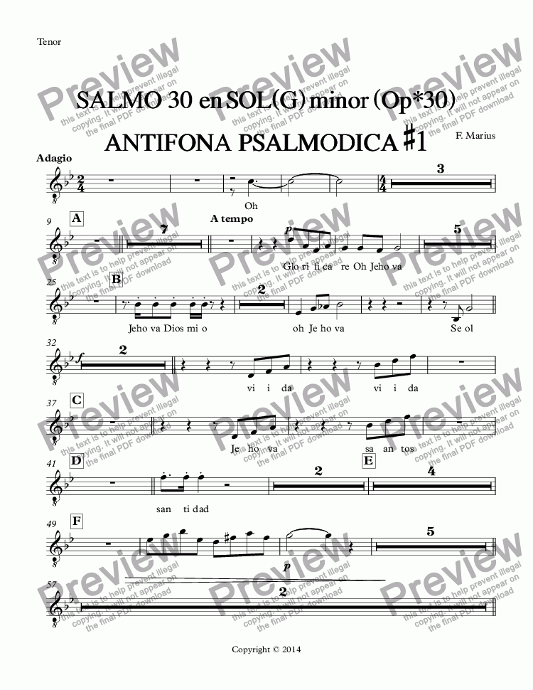 page one of the Tenor part from SALMO  30  en SOL(G) minor (Op*30) ANTIFONA  PSALMODICA #1
