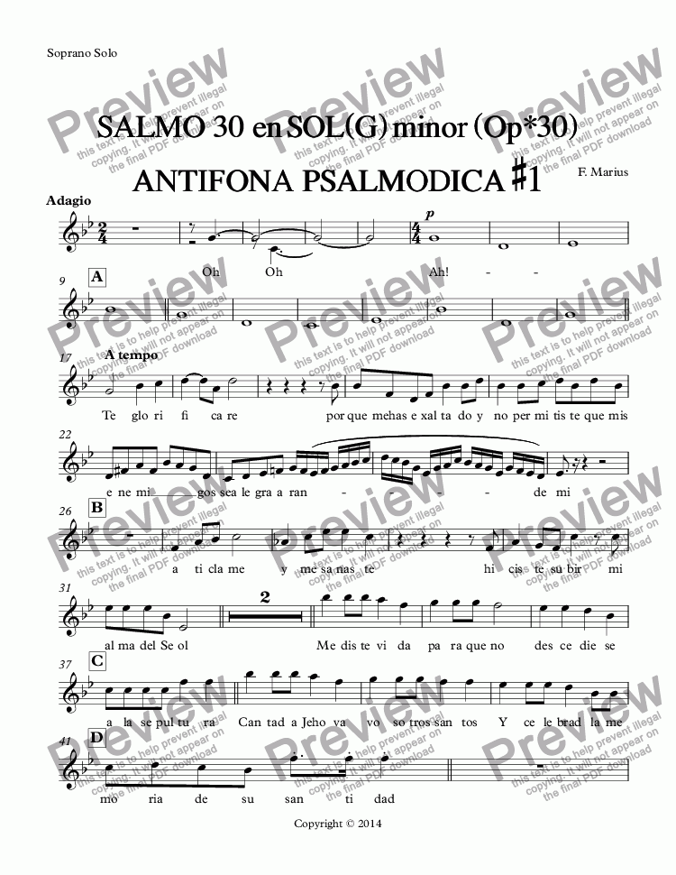 page one of the Soprano Solo part from SALMO  30  en SOL(G) minor (Op*30) ANTIFONA  PSALMODICA #1