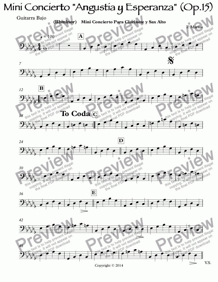 "page one of the Guitarra Bajo part from Mini Concierto ""Angustia y Esperanza"" (Op.15)  (Bbminor)  Mini Concierto Para Clarinete y Sax Alto"
