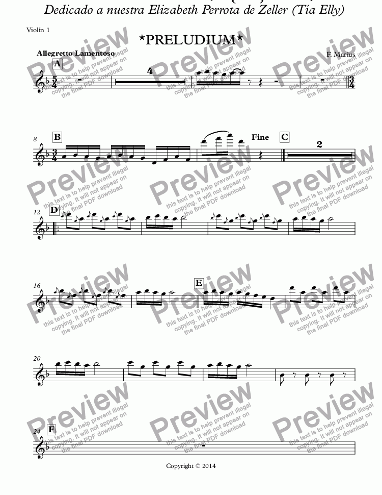 page one of the Violín 1 part from Zodiaco: Ballet Suites Infantil #0 *PRELUDIUM* (Op. 05)