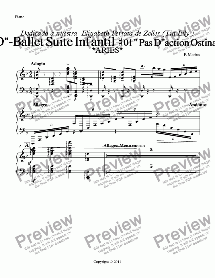 "page one of the Piano part from ""ZODIACO""-ARIES-Ballet Suite Infantil  # 01 "" Pas D""action Ostinato"" {RE (D) minor} (Op.05A)"