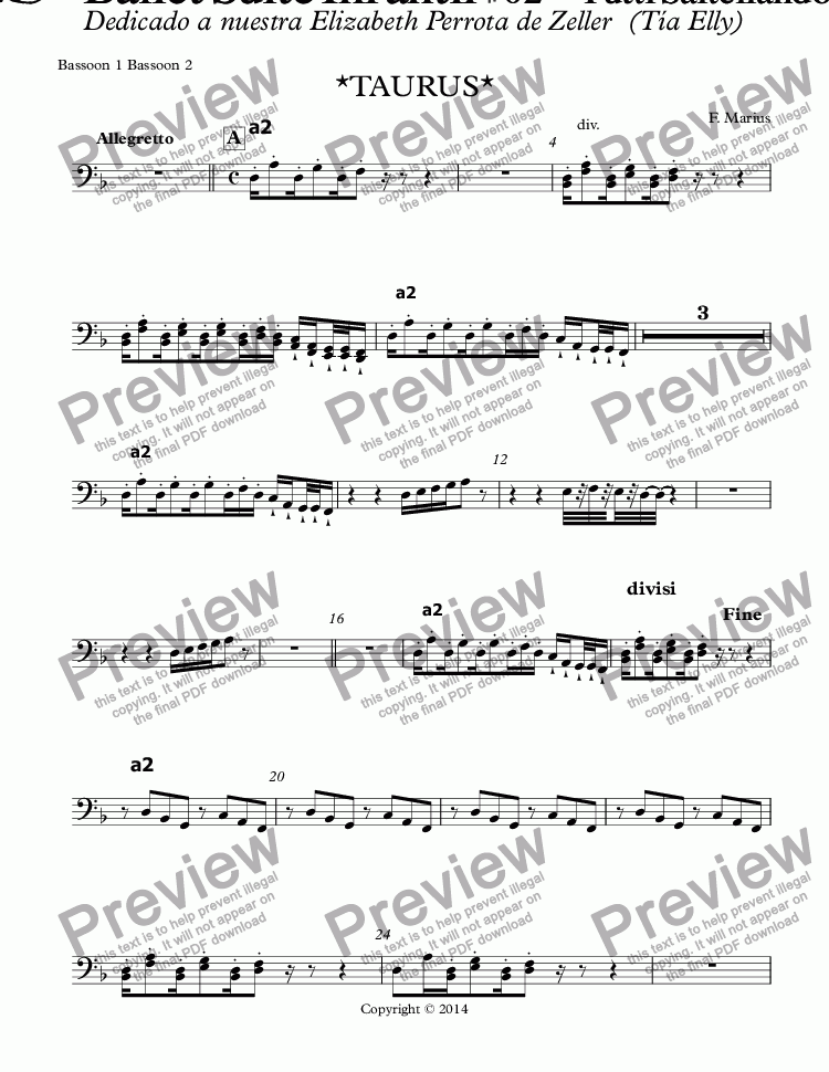 "page one of the Bassoon 1 Bassoon 2 part from ""ZODIACO""- TAURUS -Ballet Suite Infantil # 02 - ""Tutti Saltellando"" D (RE) minor  (Op.05B)"