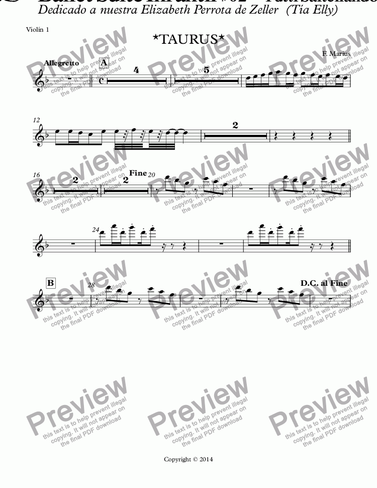 "page one of the Violín 1 part from ""ZODIACO""- TAURUS -Ballet Suite Infantil # 02 - ""Tutti Saltellando"" D (RE) minor  (Op.05B)"