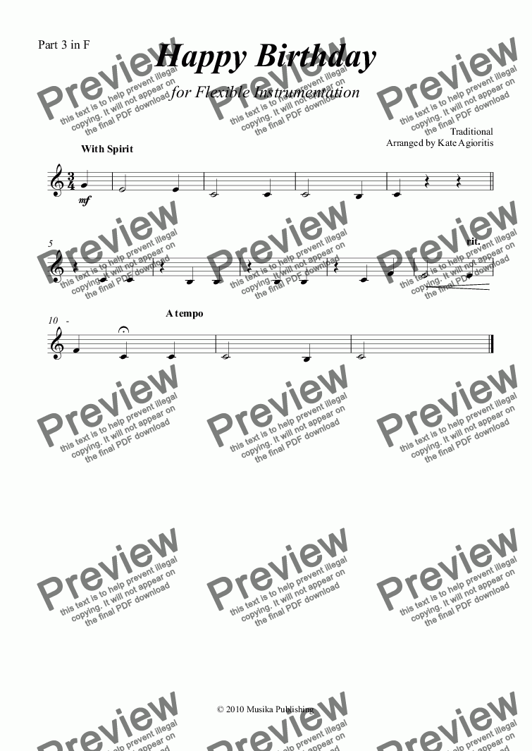 page one of the Part 3 in F part from Happy Birthday - Flexible Instrumentation