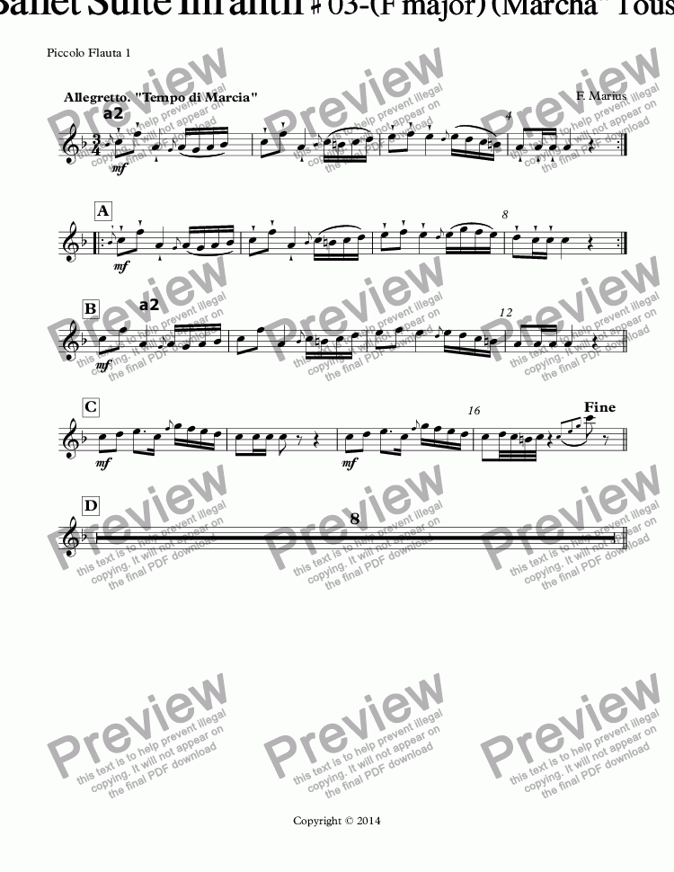 "page one of the Piccolo Flauta 1 part from ""ZODIACO""- GEMINIS-Ballet Suite Infantil # 03-(F major) (Marcha"" Tous les Enfants"") (Op-05C)"