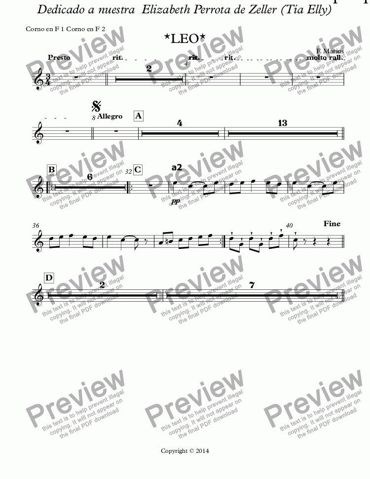"page one of the Corno en F 1 Corno en F 2 part from ""ZODIACO""-LEO-Ballet Suite Infantil # 05  ""Pas de Trois plus petite enfants"" (F major) (Op.05E)"