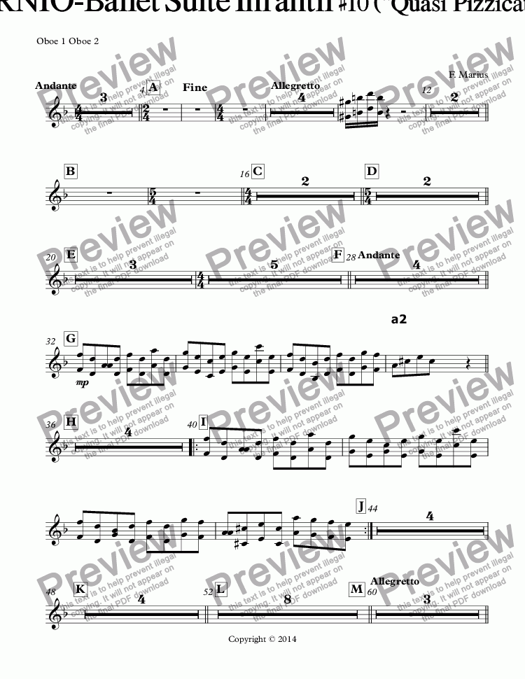 "page one of the Oboe 1 Oboe 2 part from ""ZODIACO""-CAPRICORNIO-Ballet Suite Infantil #10 (""Quasi  Pizzicato-Glissade-Bachata"" D {RE} minor](Op-05J)"