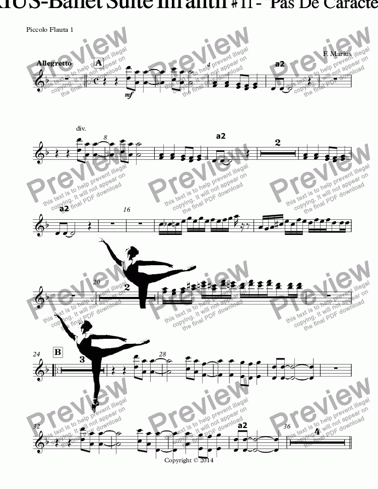 "page one of the Piccolo Flauta 1 part from ""ZODIACO""-AQUARIUS-Ballet Suite Infantil # 11 - ""Pas  De  Caractere-Arabesque""  (D {RE} minor)(Op-05K)"