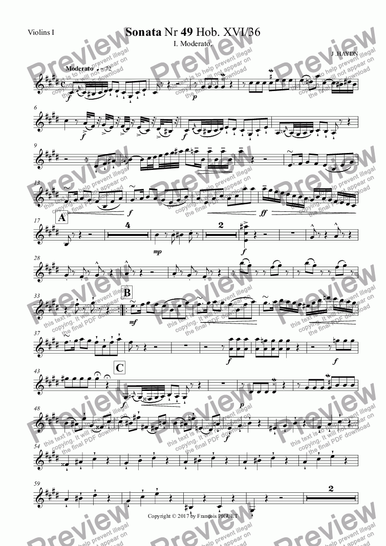 page one of the Violins I part from HAYDN Piano Sonata Nr 49 I.Moderato