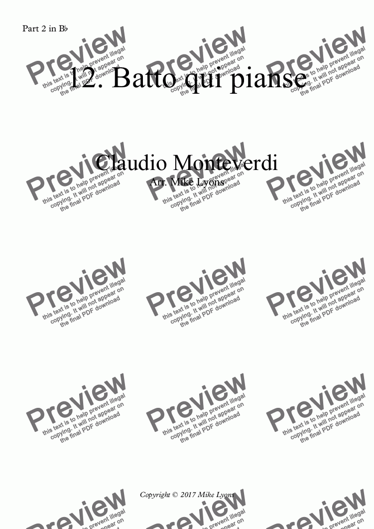 page one of the Part 2 in B^b part from Brass Quintet - Monteverdi Madrigals Book 6 - 12. Batto qui pianse