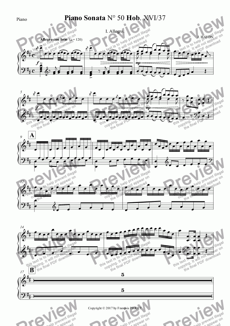 page one of the Piano part from HAYDN Piano Sonata N° 50 I.Allegro.
