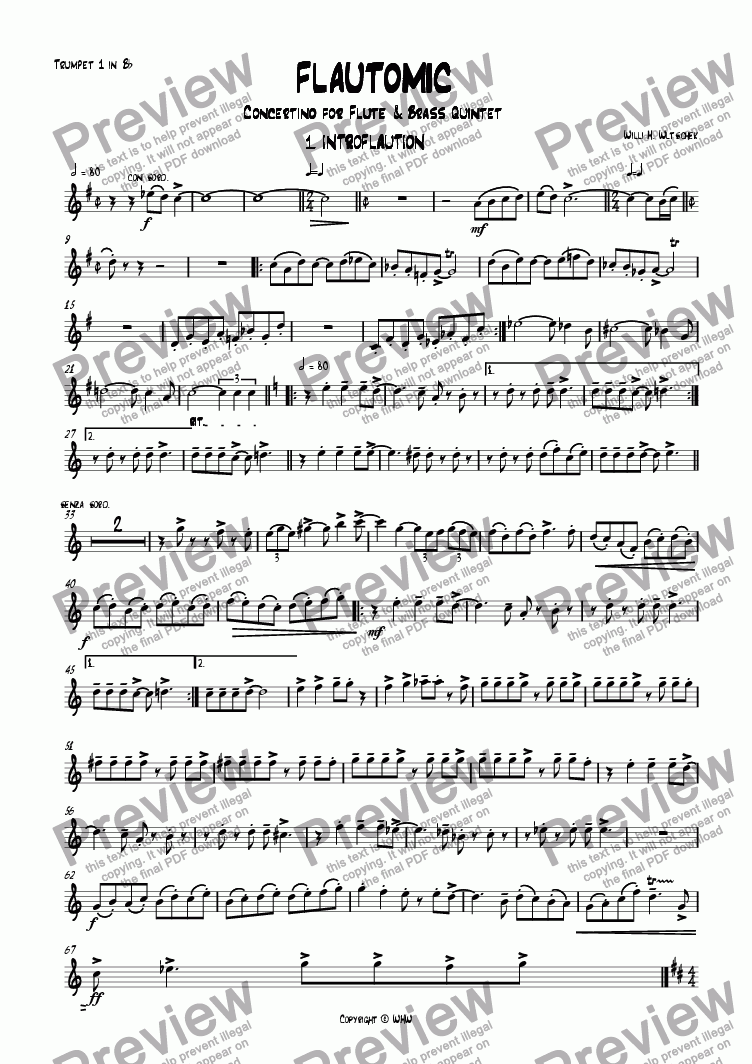 page one of the Trumpet 1 Bb part from FLAUTOMIC