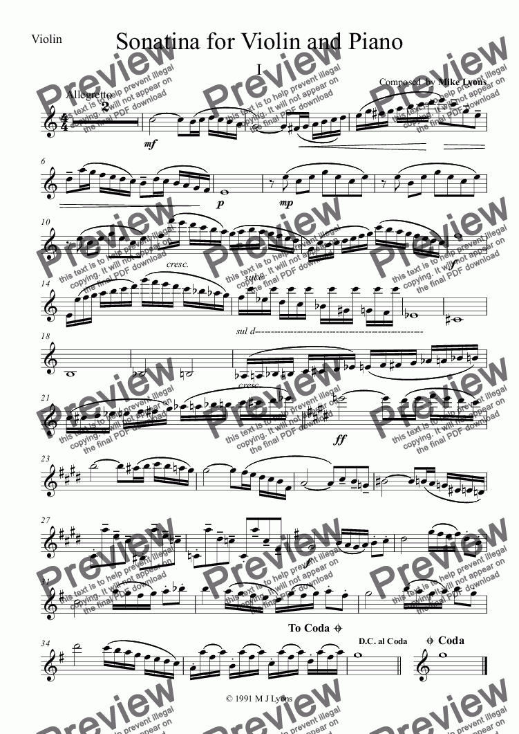 page one of the Violin part from Violin Solo with Piano - Sonatina for Violin & Piano