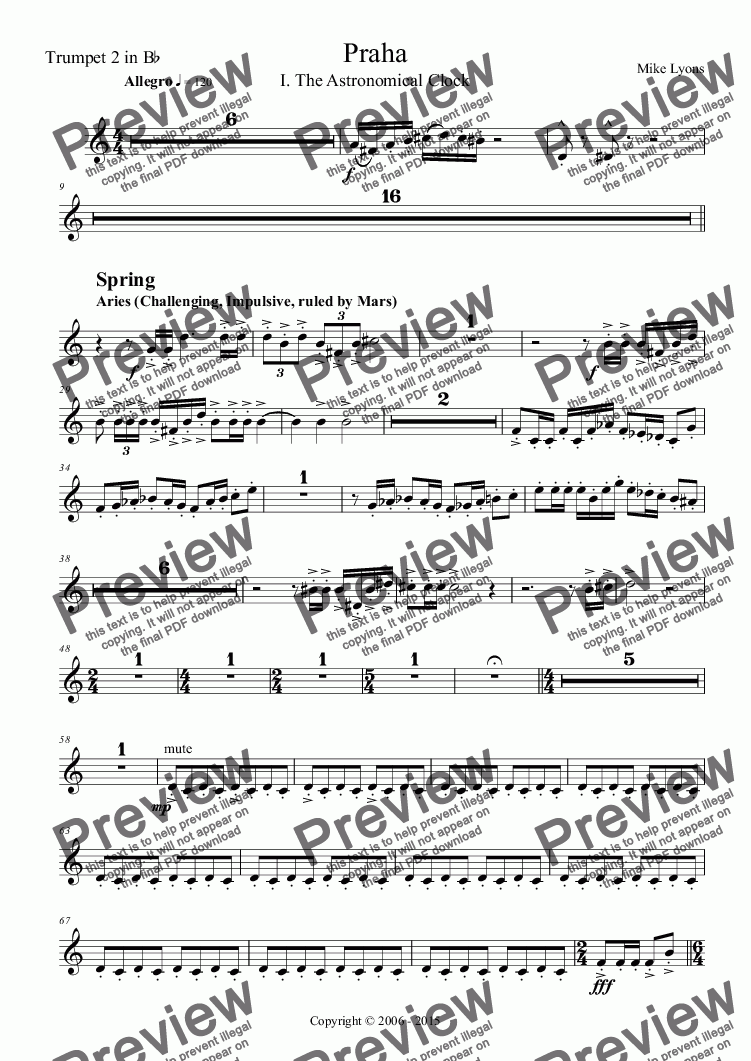 page one of the Trumpet 2 in B^b part from Orchestral - Tone Poem - Praha 1st. Movement