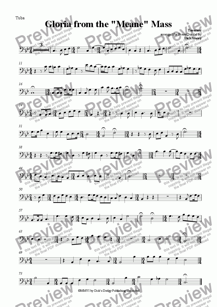 "page one of the Tuba part from Gloria from the ""Meane"" Mass"
