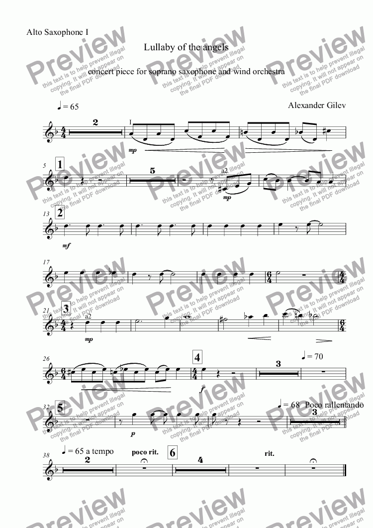 page one of the Alto Saxophone I part from Lullaby of the angels