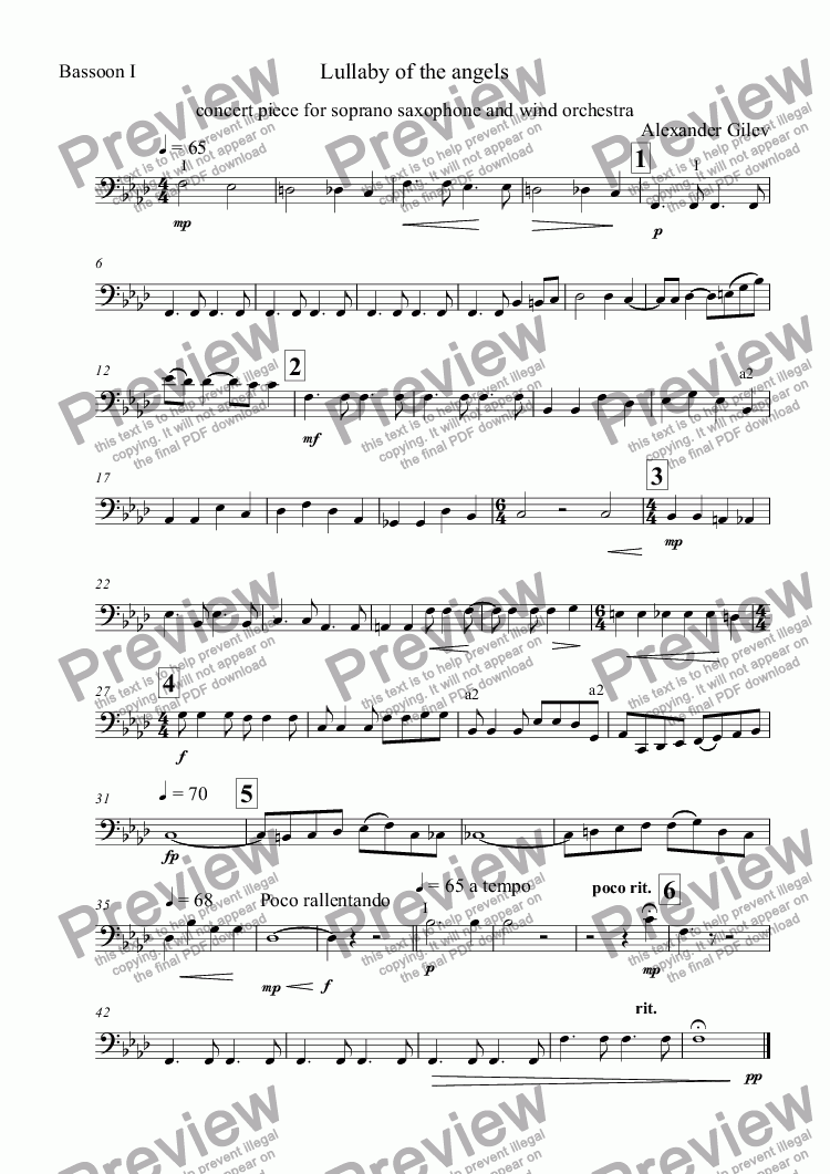 page one of the Bassoon I part from Lullaby of the angels