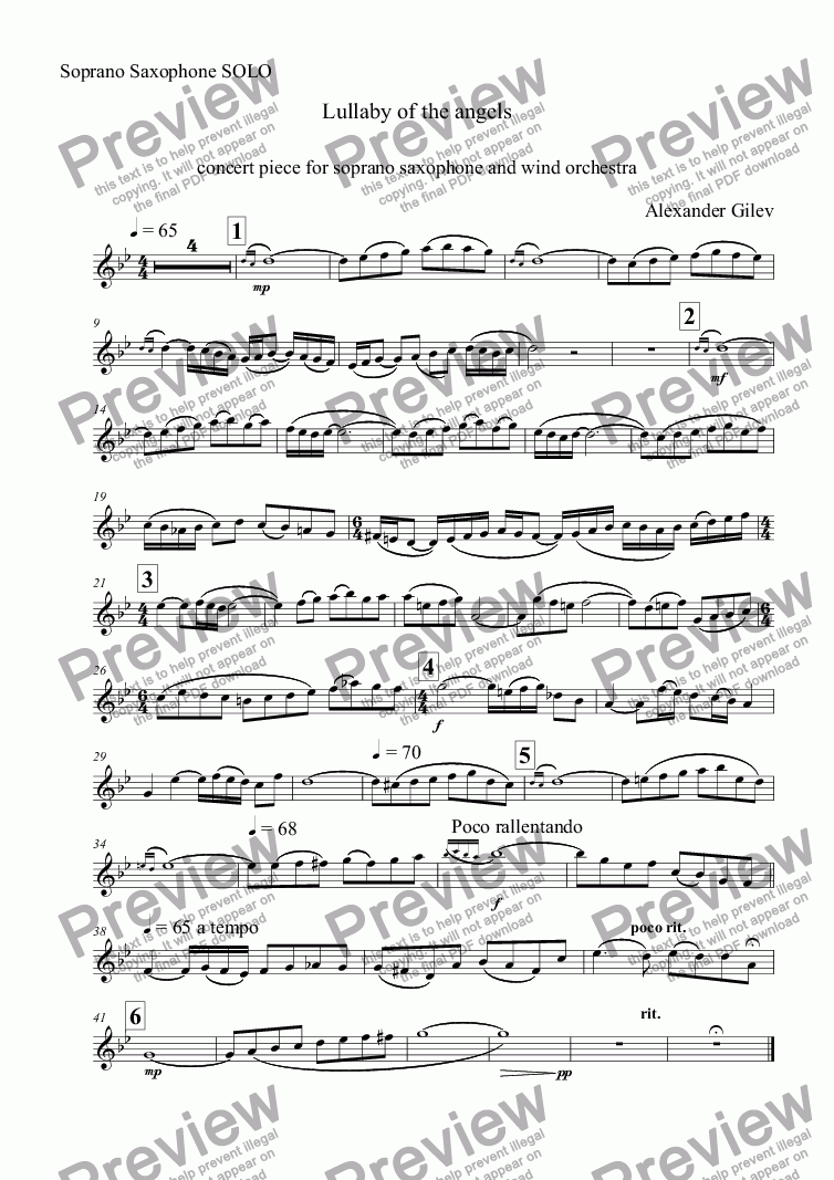 page one of the Soprano Saxophone SOLO part from Lullaby of the angels