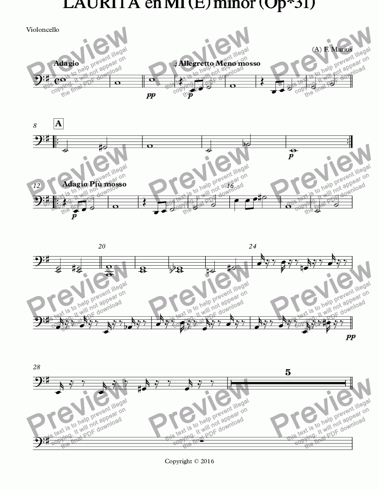page one of the Violoncello part from LAURITA  en MI (E) minor (Op*31)