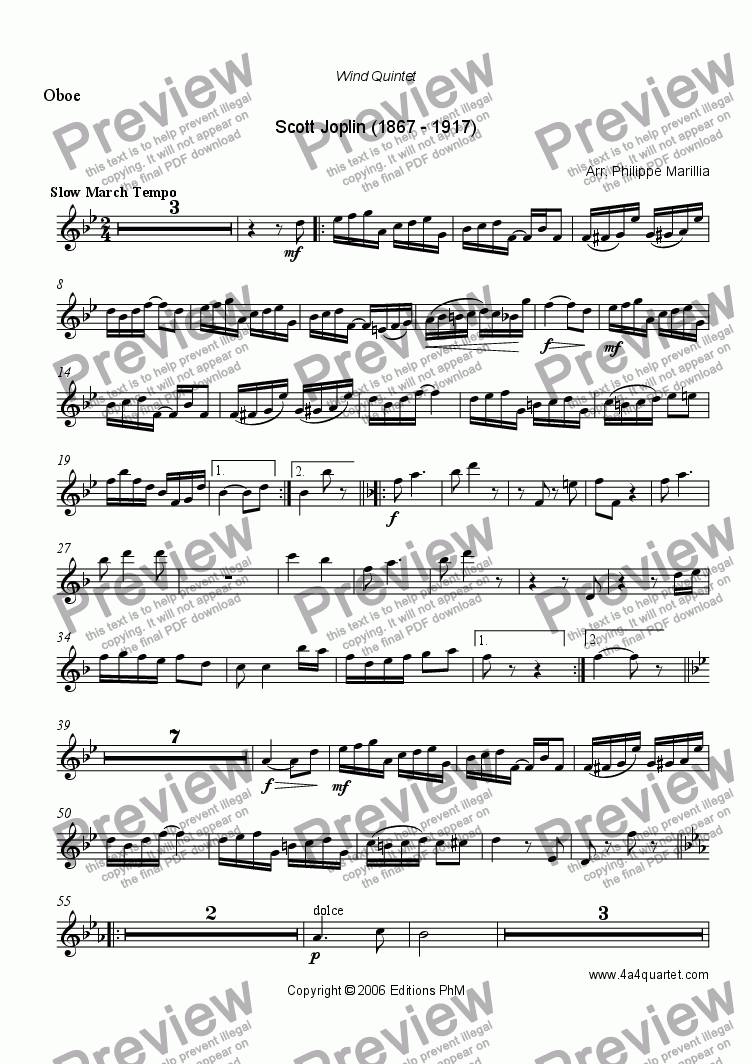 page one of the Oboe part from Joplin - The Chrysanthenum (Wind quintet)