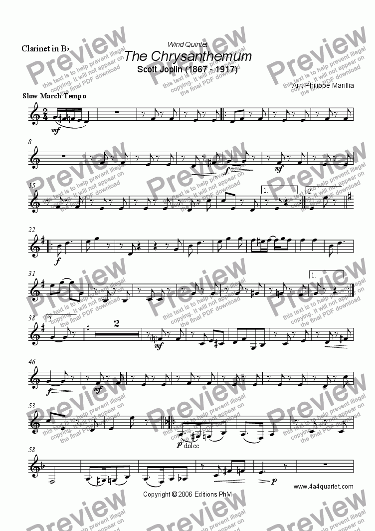 page one of the Clarinet in Bb part from Joplin - The Chrysanthenum (Wind quintet)