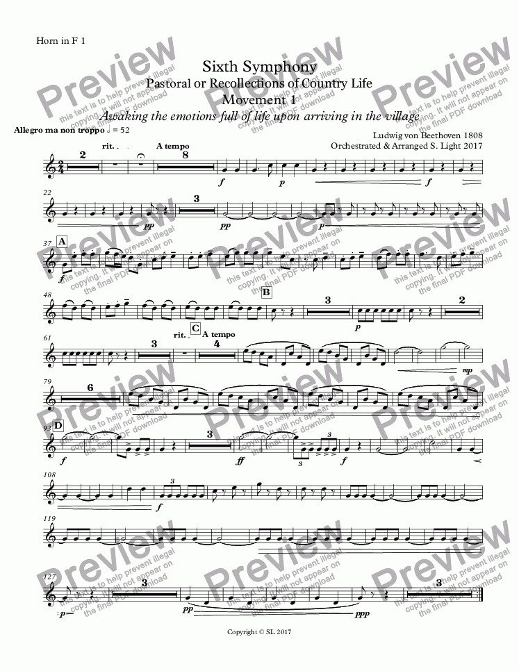 page one of the Horn in F 1 part from Sixth Symphony - Movement 1
