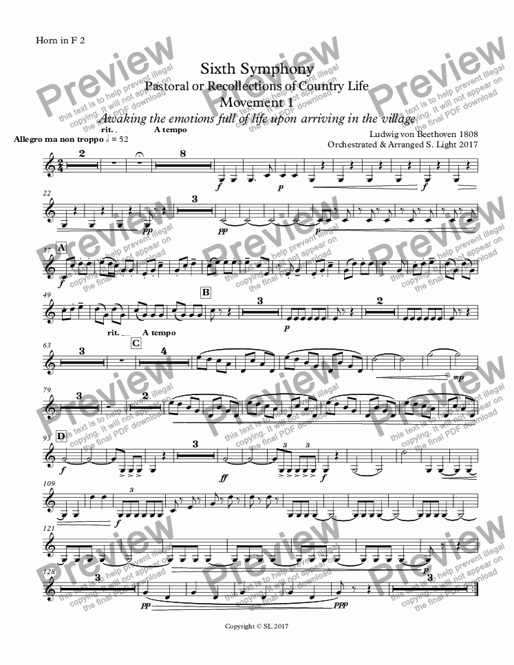 page one of the Horn in F 2 part from Sixth Symphony - Movement 1