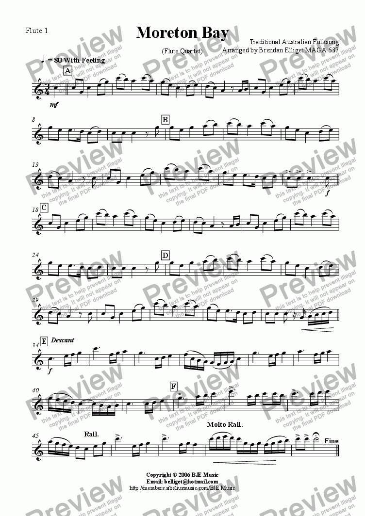 page one of the Flute 1 part from Moreton Bay - Flute Quartet