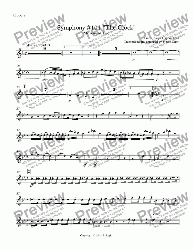 "page one of the Oboe 2 part from Symphony #101 ""The Clock"""